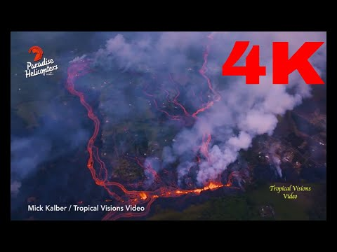 DFN:Hawaii volcano eruption: Lava enters SEA sending hydrochloric acid and GLASS into air - 4K Video