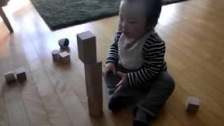 生後一ヶ月頃(1年以上前)にもらった積み木で、ようやく遊べるようにな...