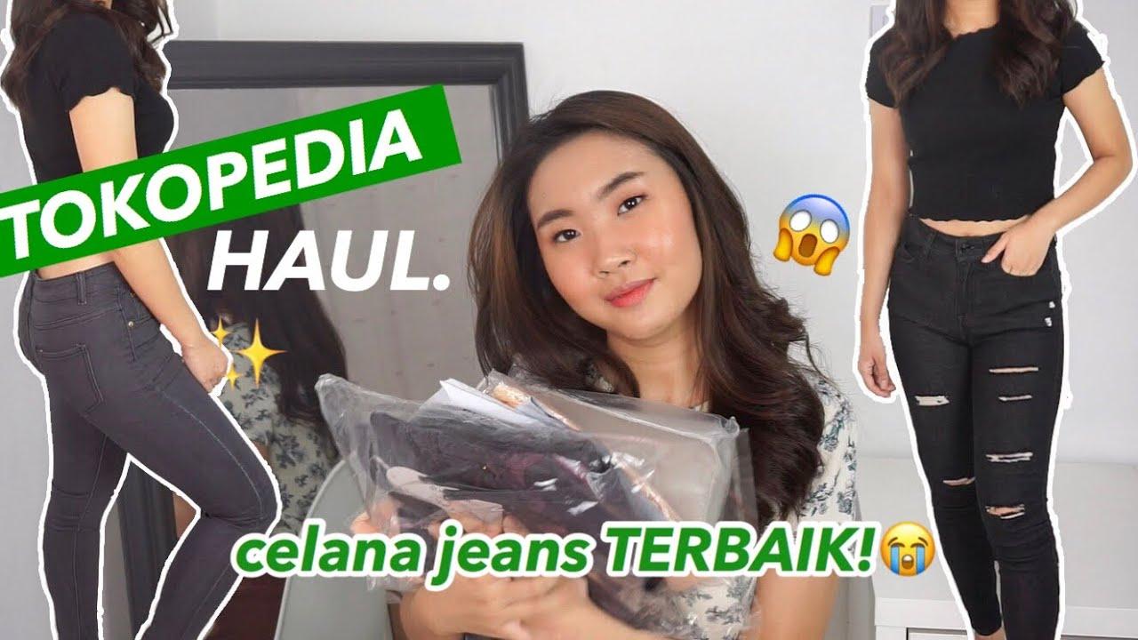 Jeans Korea High Waist Shopee Haul Celana Rok Jaket Try On Lengkap Youtube