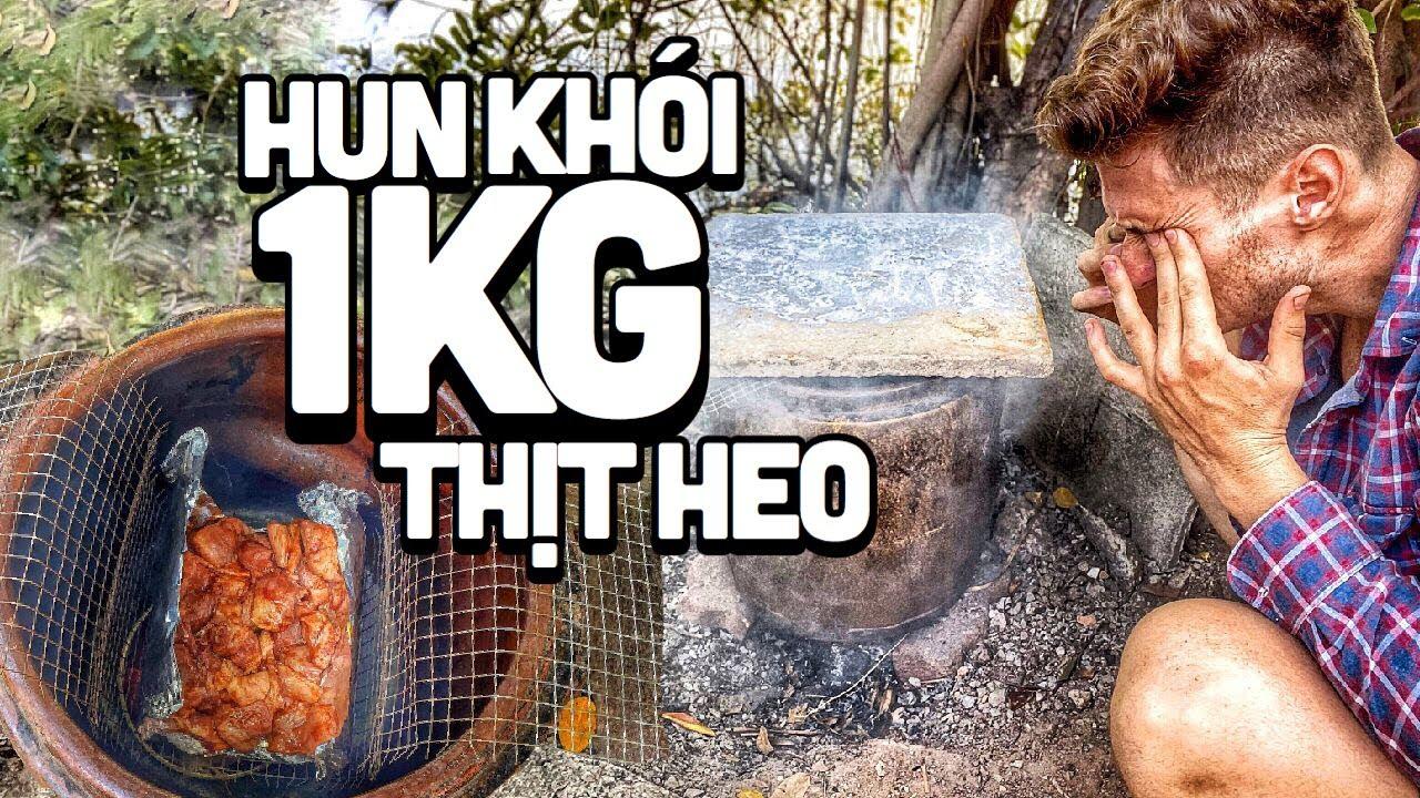 Made a smoker from a bathing pot! 1kg pork! Làm lò hun khói từ cái lu đựng nước! 1KG thịt heo!