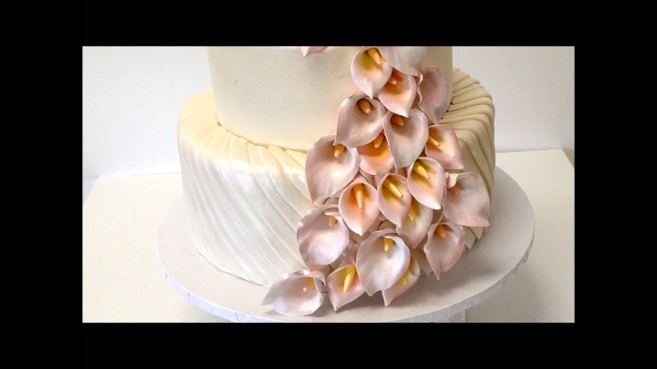 Three Tier Wedding Cake With Sugar Flowers