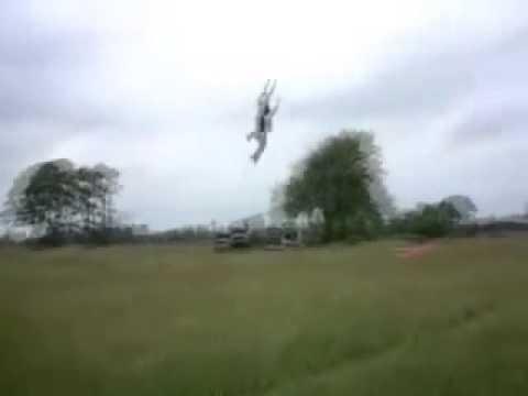 WIND POWER Kite Rider is Lifted 100 feet off the Ground then Violently Slammed Down