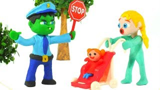 HULK POLICE STOPS BABY ELSA  ❤ Spiderman, Hulk & Frozen Play Doh Cartoons For Kids