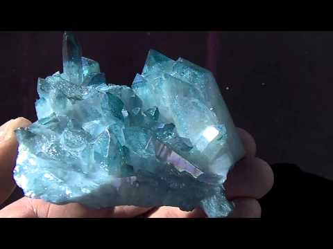 LARGE Aqua Aura Arkansas Quartz Crystal Cluster