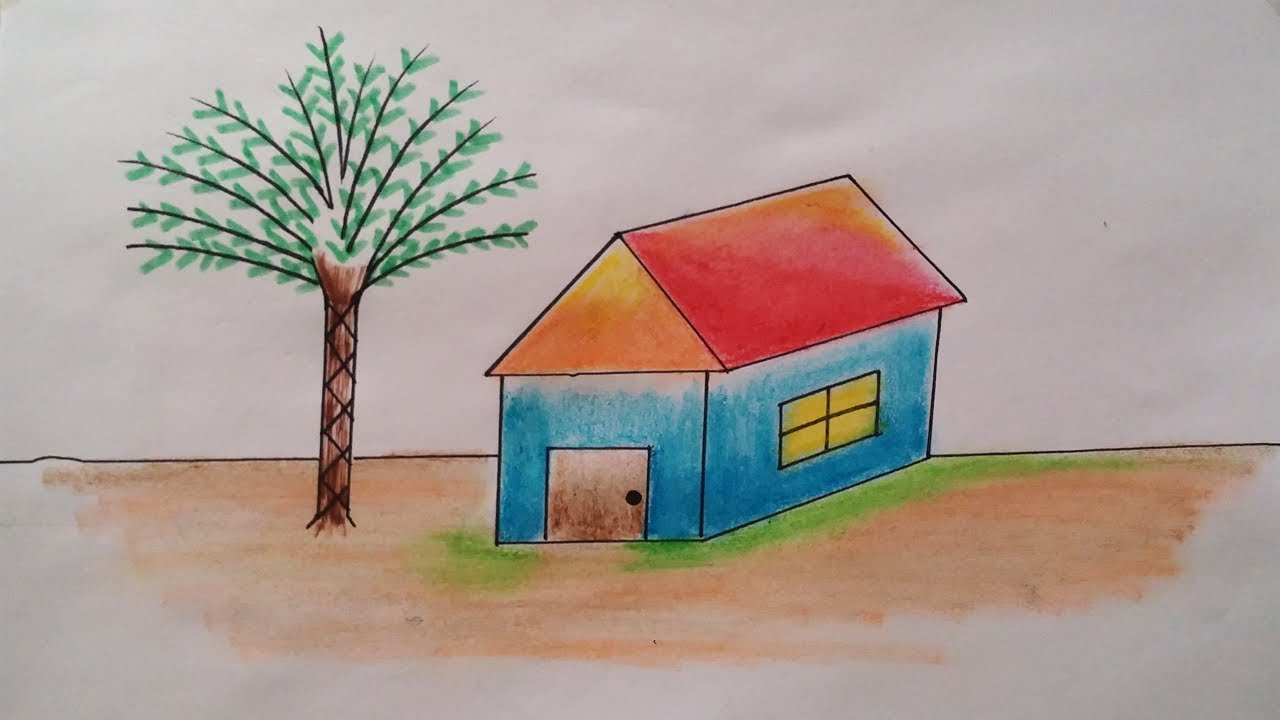 How To Draw A House With Shade Colors Easy And Simple House Drawing Classes Rabbit Videos