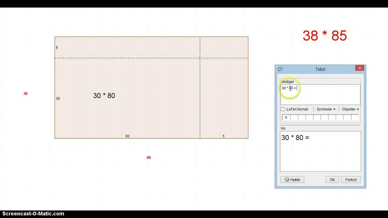 Gange 2-cifrede tal vha. rektangler - Trin 3