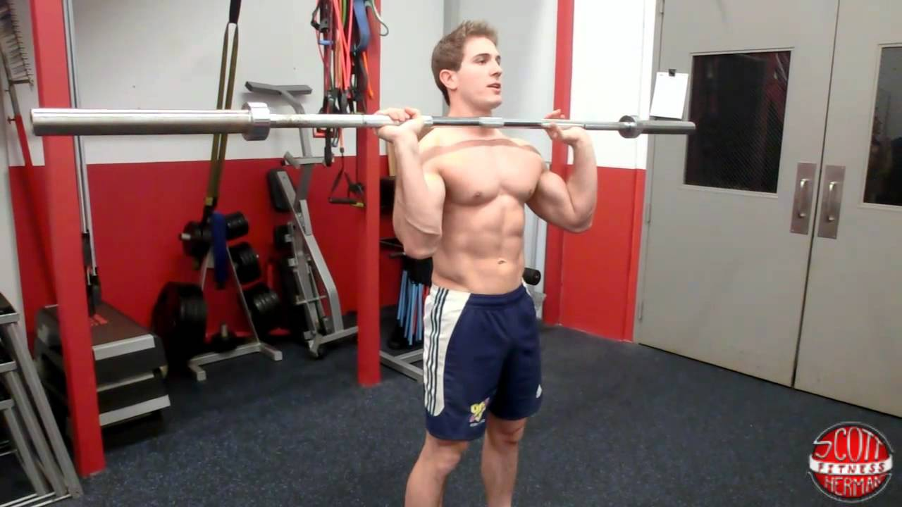 How To Standing Straight Bar Military Overhead Press Youtube