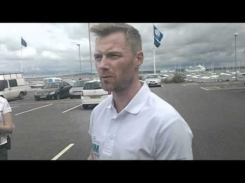 Ronan Keating talking about his Charity swim across the Irish Sea