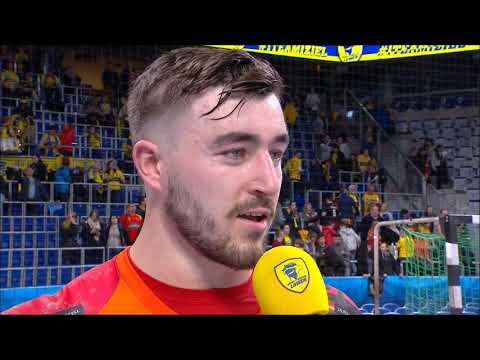 Jannik Kohlbacher nach dem Spiel gegen Vardar Skopje