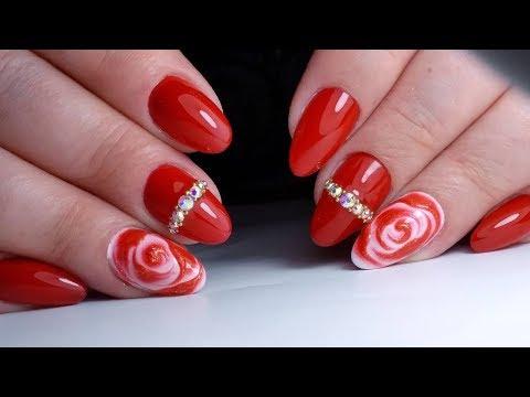 Наращивание ногтей дизайн красный