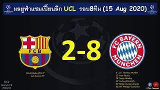ผลบอลยูฟ่าแชมเปี้ยนลีก UCL รอบ8ทีม : เสือใต้โคตรโหดหลังไล่ขยี้บาร์ซ่ากระจุย ทะลุรอบรอง(15 Aug 2020)