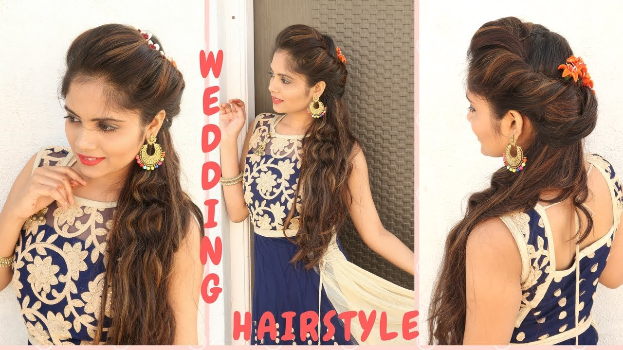 Indian Wedding Hairstyle For Medium Hair Curly Hair Hairstyle