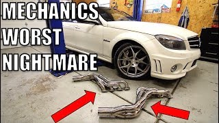 Forget Straight Pipes! I'm Running OPEN HEADERS On My C63 AMG But The Install Was A Total Nightmare!