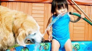 Adorable Baby and Dog Play With Water Hose – Funny Baby Vine