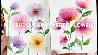 Layered Watercolour Flowers