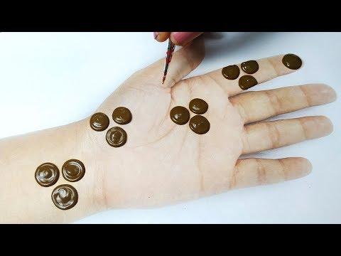 आसान गोल टिक्की मेहँदी डिज़ाइन लगाना सीखे - Easy Simple Mehndi design on Hands step by step