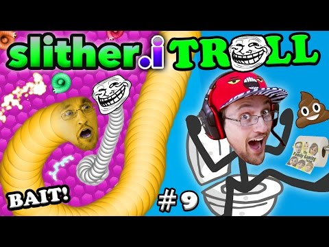 SLITHER.itrOll TRAP BAIT & TROLL FACE! Duddy † s Slither.io #9 & Toilet Success Games (FGTEEV 2in1)