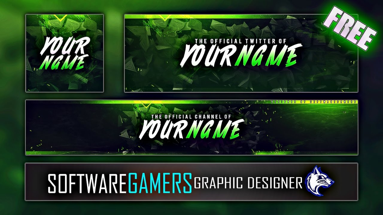 green scheme abstract gaming youtube banner  logo and