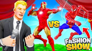 I joined a Fortnite Fashion Show as IRON-MAN & SPIDERMAN!