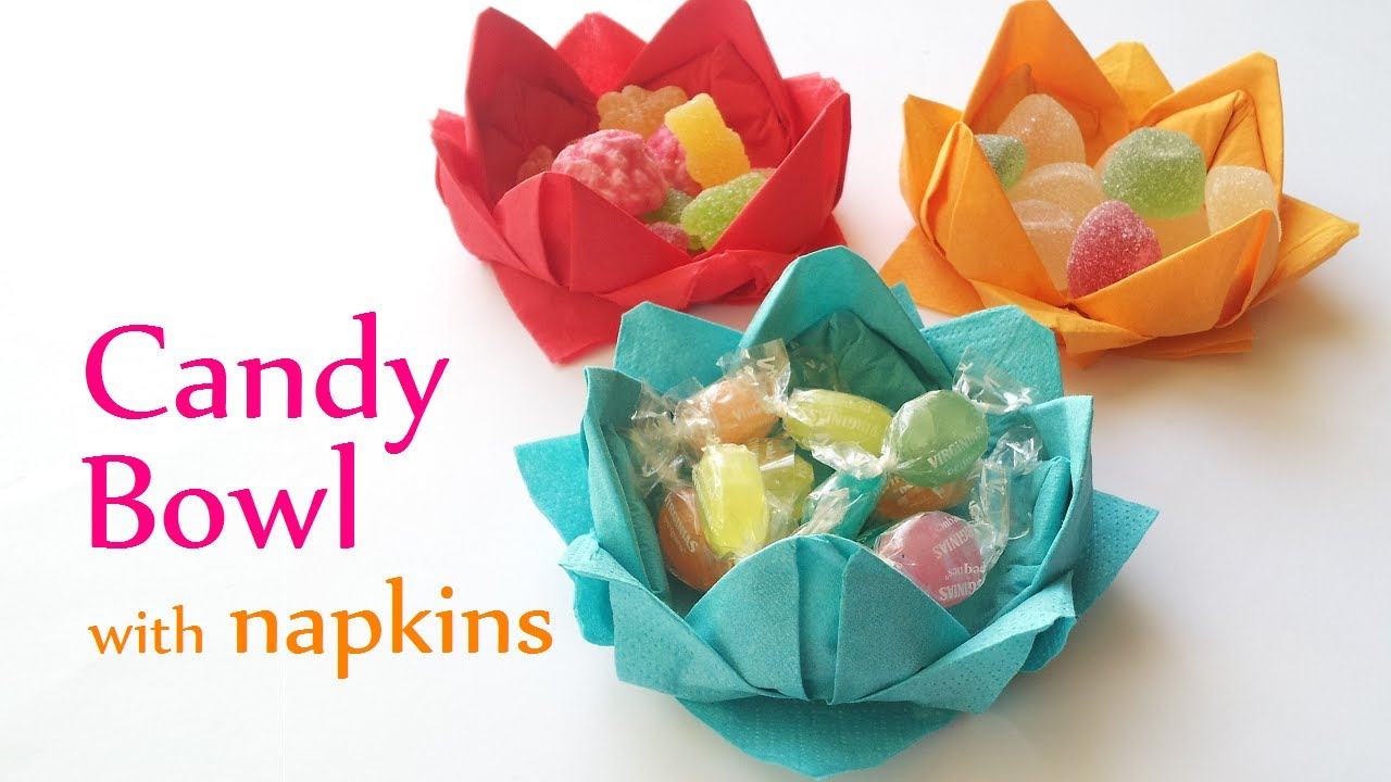 Diy crafts candy bowl with paper napkins innova crafts youtube mightylinksfo