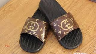 07bbe2fc35f1 Gucci x LV custom slides by Funky Fresh Footwear LLC