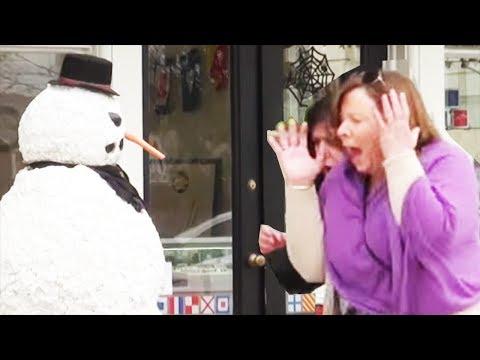 Best Of 2015 Scary Snowman Hidden Camera Practical Joke - Over 100 reactions!