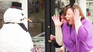 Best Of 2015 Scary Snowman Hidden Camera Practical Joke - Over 100 reactions!