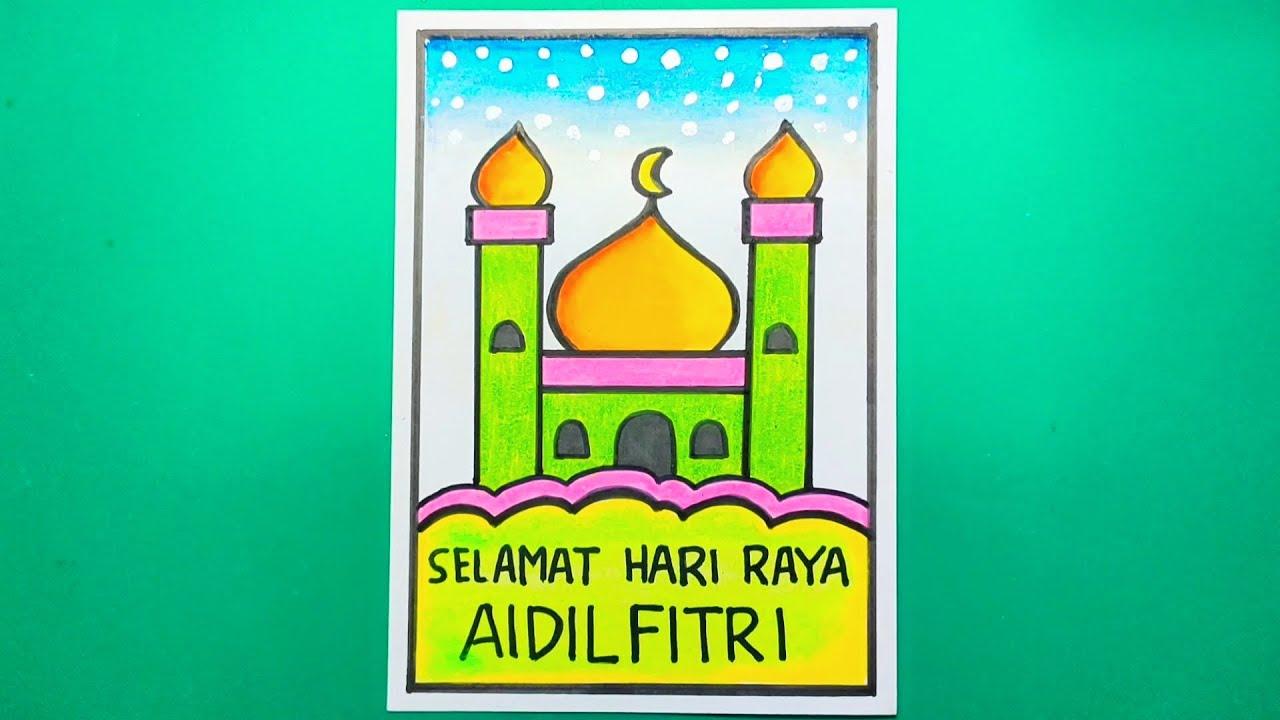 Diy Hari Raya Greeting Card Ramadan Crafts Eid Crafts Paper Crafts Diy Kids
