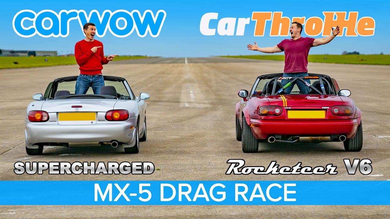 V6 MX-5 vs Supercharged MX-5: Car Throttle vs carwow DRAG RACE, ROLLING RACE & BRAKE TEST!