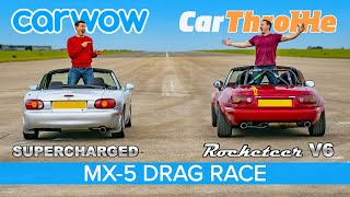 MX-5 V6 Swap vs Supercharged: Tuned Miata DRAG RACE, ROLLING RACE & BRAKE TEST!