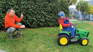 Pretend Play with Tractor | Timko and Papa Ride On Cars