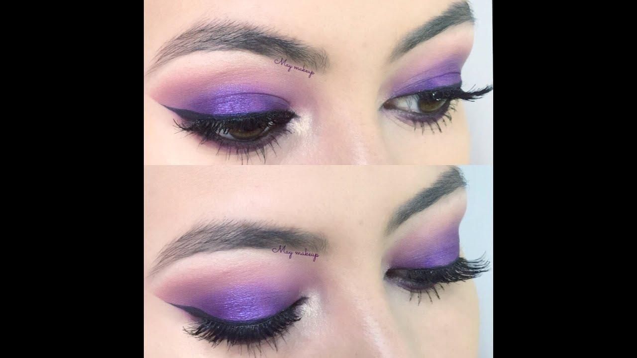 Maquillaje morado con pigmento de bissú by Mayra León