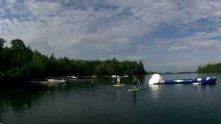 Julie and Doug on SUPs - Stand up Paddle boards, Lake of Bays, Muskoka