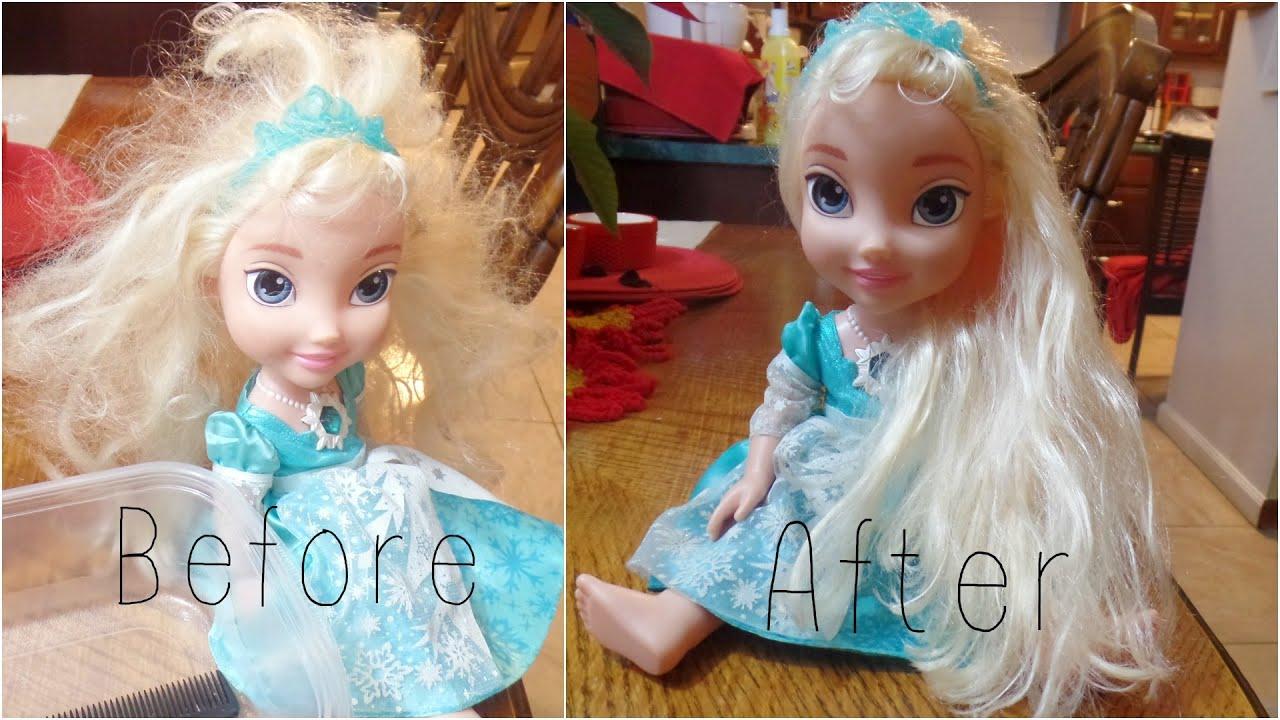 How To Detangle Doll S Hair Ft Frozen S Elsa Youtube