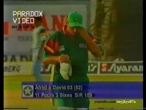 Shahid AFRIDI DESTROYING Indian bowlers - 83 (52) at Hyderabad 1997