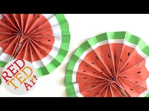 Easy Origami Paper Fan - Watermelon DIY