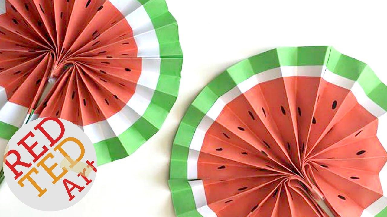 Diy Paper Fan Melon Fans Red Ted Art
