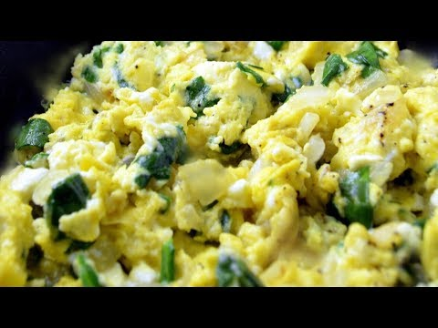 Healthy Scrambled Eggs with Green spinach Recipe