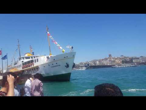 Istanbul - June 2017 - Boats crossing Bosphorous - people travelling between Asia and Europe