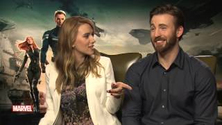 Scarlett Johansson And Chris Evans Try To Name Captain America's Barbershop Quartet