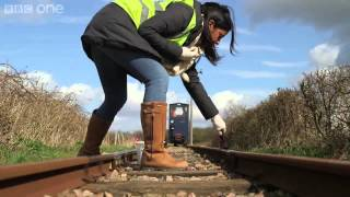 Liz Bonnin replicates how leaves affect trains   Bang Goes The Theory  Series 8 Episode 7   BBC One