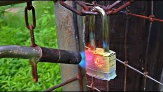 Fire Proof Padlock Melted Open Test