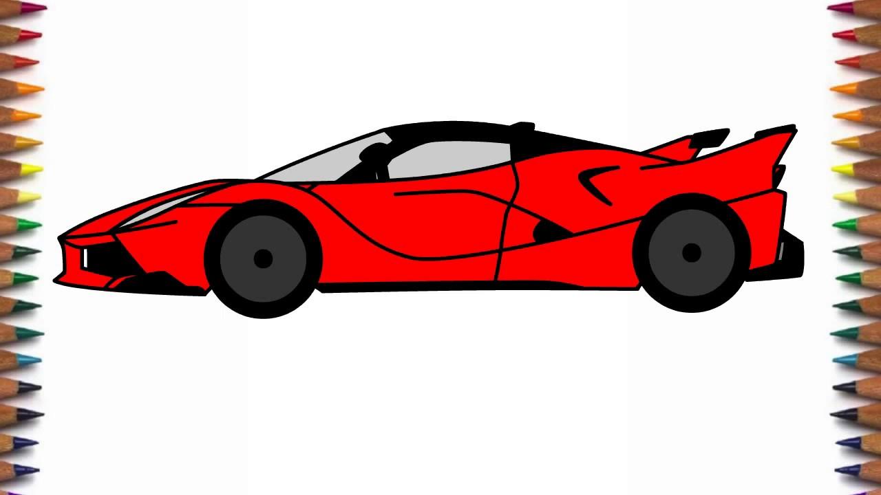 How To Draw Ferrari Fxx K Side View как нарисовать феррари Youtube
