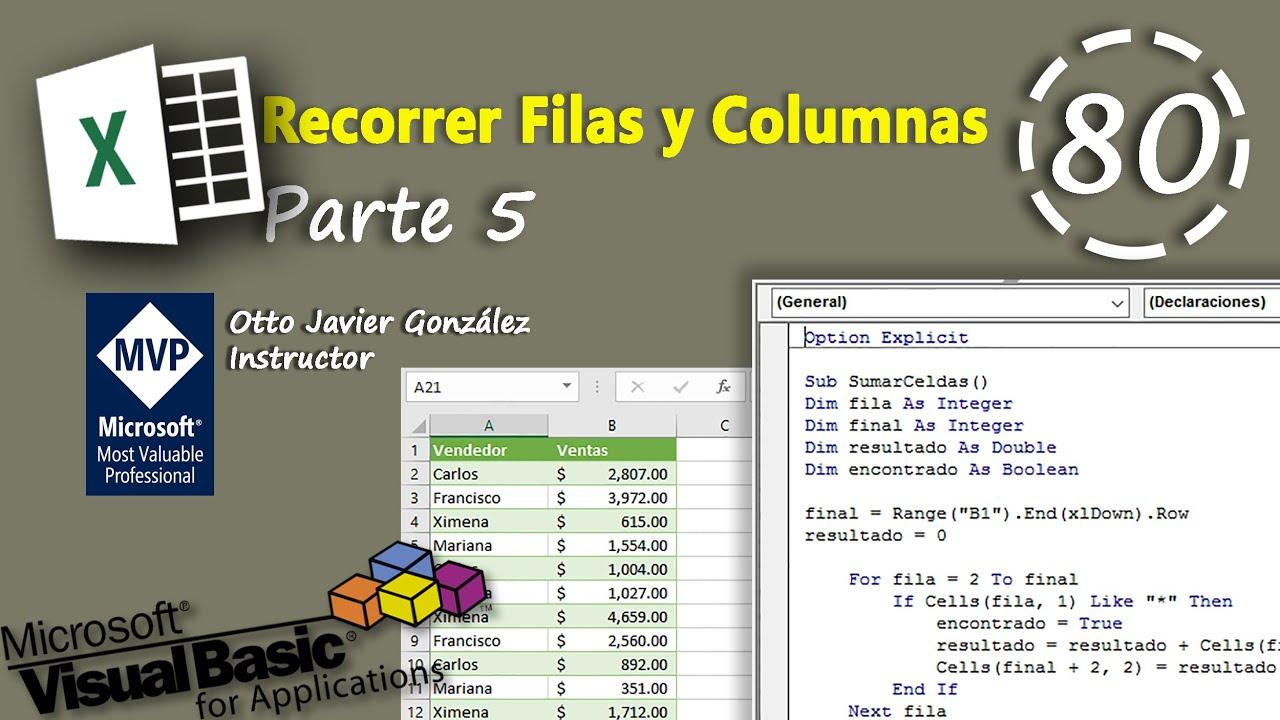 Recorrer Filas Y Columnas Parte 5 Vba Excel 2016 80 Youtube
