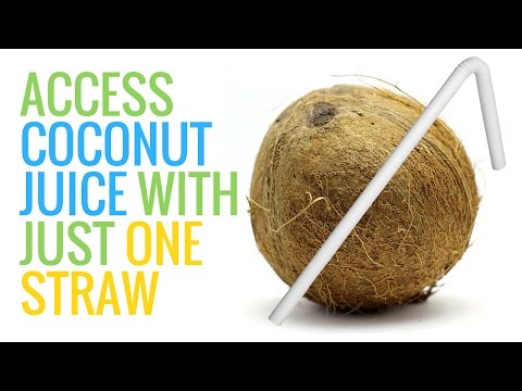A Super Fast Way to Access Fresh Coconut Juice with just a Straw