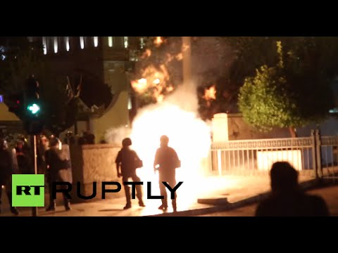 Protesters throw petrol bombs as Greek parliament votes on bailout reforms