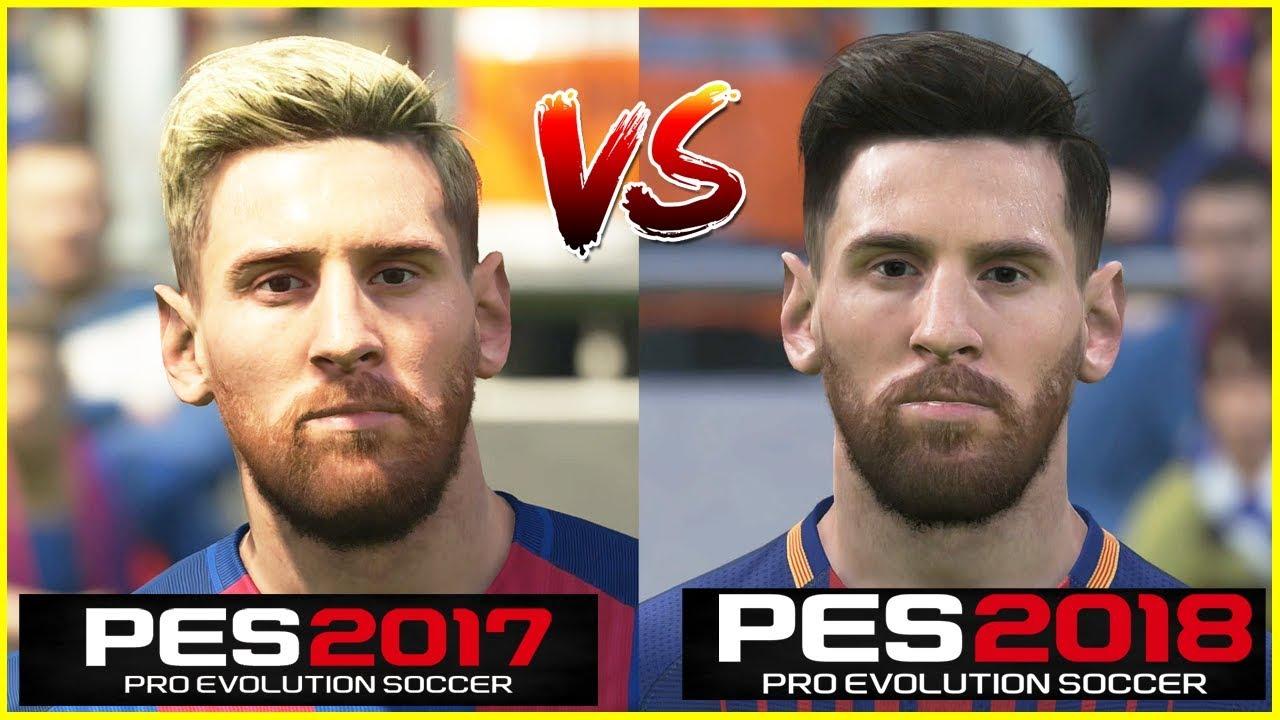 PES 2018 vs PES 2017 Barcelona Faces Comparison