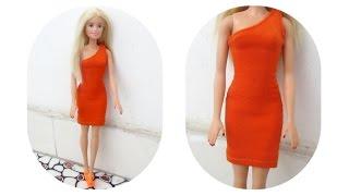 DIY How to Make a Doll Dress (Easy) / May đồ cho búp bê: handmade váy đầm ôm đơn giản / Ami DIY