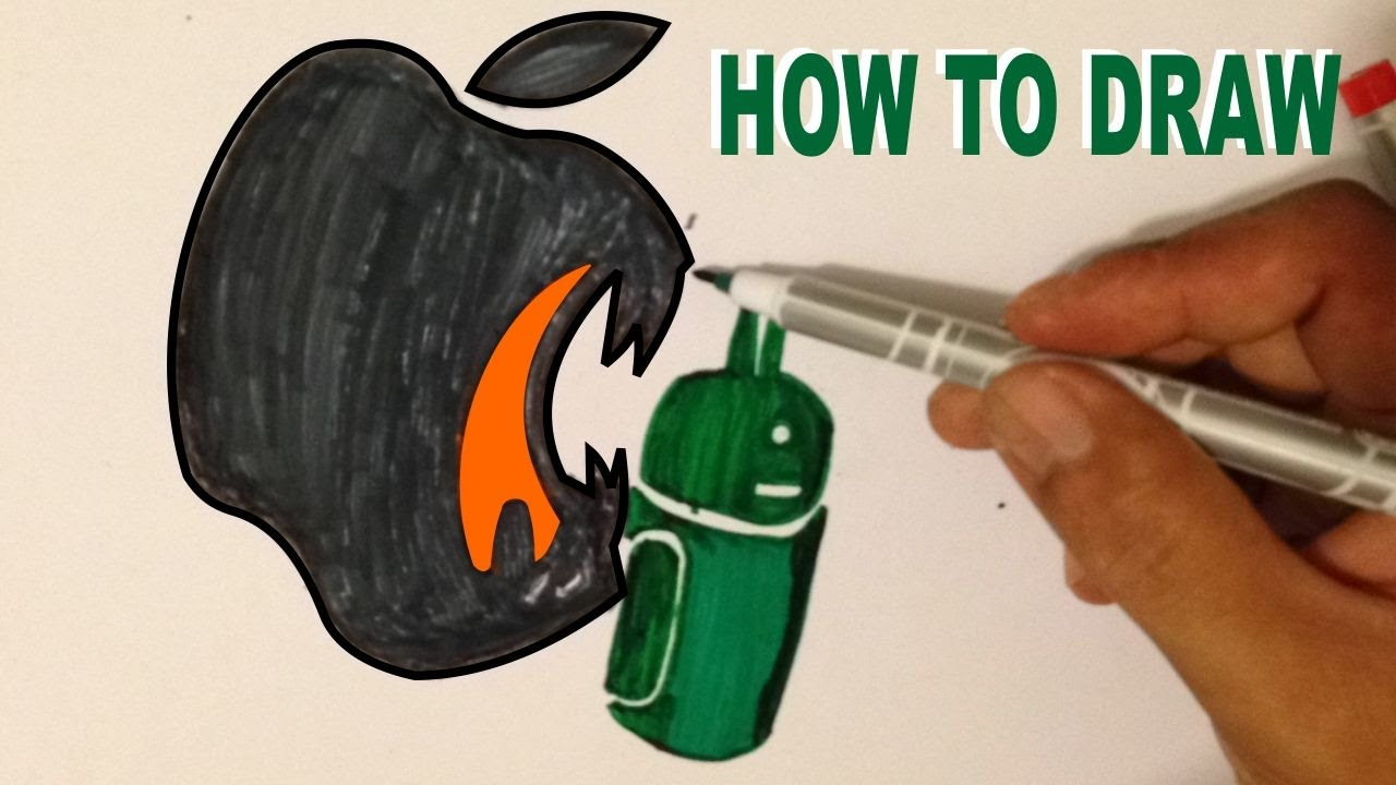How To Draw The Apple Logo To Eat Android Logo Youtube