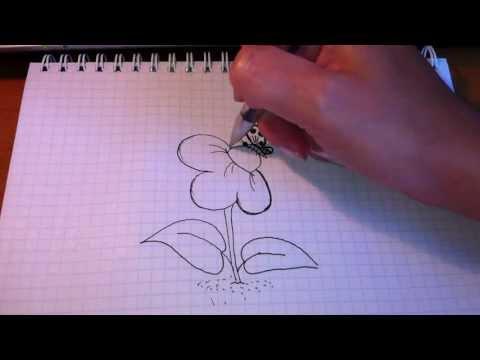 Как рисовать цветы в городецкой росписи